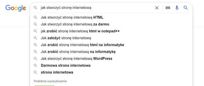 Słowa kluczowe Google - pozycjonowanie strony